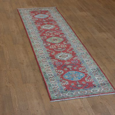 Hand Knotted Kazak Runner From Afghanistan Sn 21541