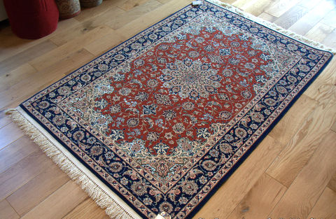 A beautiful hand knotted wool and silk rug from Isfahan, Iran. - Rugs For Sale Uk Roselawnlutheran